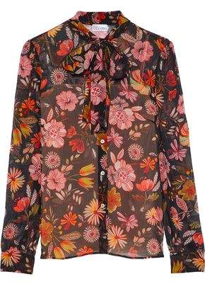 RED Valentino Floral-Print Silk-Georgette Blouse