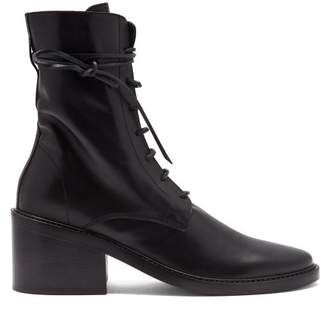 Ann Demeulemeester Lace Up Leather Ankle Boots - Womens - Black
