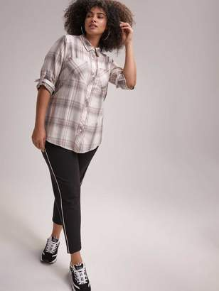 Plaid Buttoned Down Tunic Blouse - L&L