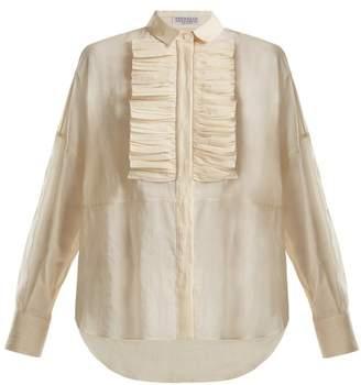 Brunello Cucinelli Ruffled Bib Semi Sheer Cotton Shirt - Womens - Ivory
