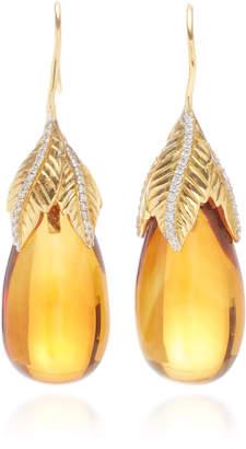 Giovane 18K Gold Citrine and Diamond Earrings