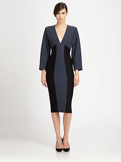 Donna Karan Colorblock Dolman-Sleeved Dress