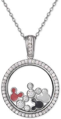 "Disney Cubic Zirconia & Enamel Mickey Mouse Shaker 18"" Pendant Necklace in Sterling Silver"