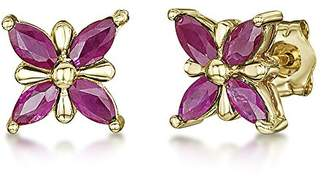 Theia 9ct Gold Butterfly Patterned 'Ruby' Set Stud Earrings