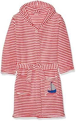 Playshoes Boys' Fleece-Bademantel Ringel AHOI Dressing Gown, Rot/Weiß 44