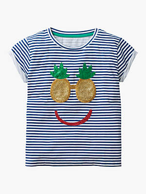 Boden Mini Girls' Shiny Applique Stripe T-Shirt, Blue/White