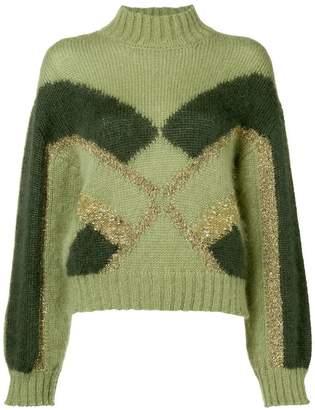 Alberta Ferretti geometric-intarsia jumper