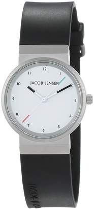 Jacob Jensen New Series Women's Quartz Watch with Dial Analogue Display and Black Rubber Strap 743