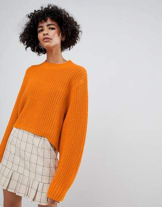 Weekday thick rib cropped sweater in orange