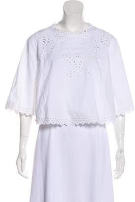 Etoile Isabel Marant Eyelet-Trimmed Short Sleeve Blouse