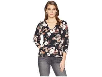 Bobeau 3/4 Puff Sleeve V Front Women's Clothing
