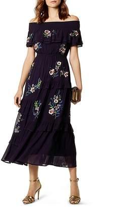 Karen Millen Embroidered Off-the-Shoulder Midi Dress