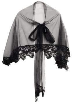 Simone Rocha Women's Lace Tulle Cape - Black