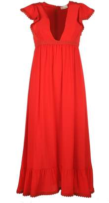 RED Valentino Long V Neck Polyester Dress