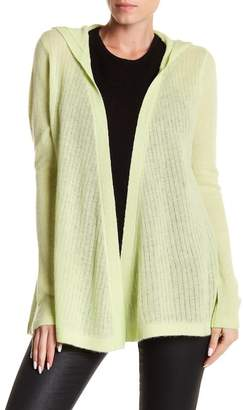 Subtle Luxury Cashmere Hi-Low Open Face Hooded Cardigan