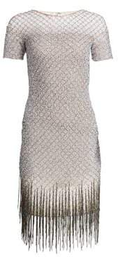 Pamella Roland Women's Sequin Fringe Hem Sheath Dress - Silver Multi - Size 12