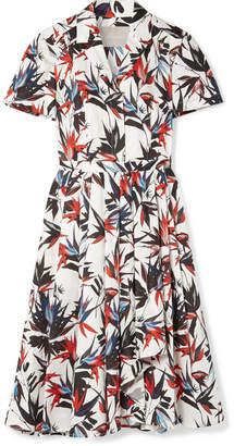 Jason Wu Pleated Printed Cotton-poplin Dress - White