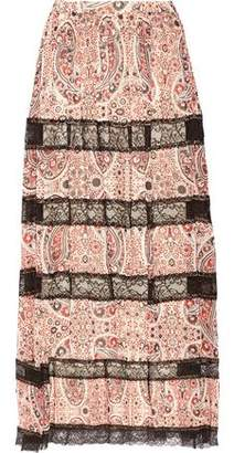 Alice + Olivia Alice+olivia Hetty Lace-Paneled Printed Georgette Maxi Skirt