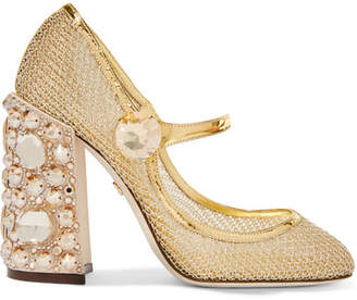 Dolce & Gabbana Crystal-embellished Metallic Mesh Mary Jane Pumps - IT36