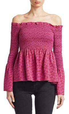 A.L.C. Agra Ruched Off-The-Shoulder Bell-Sleeve Peplum Top