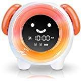 OYRGCIK Kids Alarm Clock Children Sleep Trainer with Rechargeable Battery USB Charger Night Light Clock with 7 Colors Changing Lights 4 Rings for Toddlers Girls Boys Bedroom Teach Time to Wake