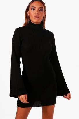 boohoo Wide Sleeve Roll Neck Jumper Dress