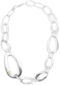 Elements Sterling Silver N2708 Ladies' Large Oval, Triangle and Round Open Link Necklace