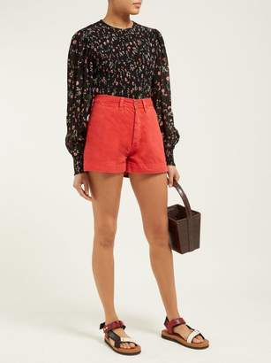 MiH Jeans Caron High Rise Denim Shorts - Womens - Red