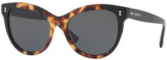 Valentino Rockstud Rivet Monochromatic Cat-Eye Sunglasses