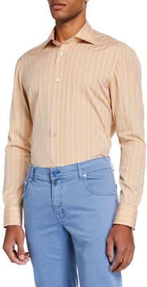 Kiton Men's Plaid Cotton Dress Shirt