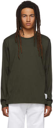 Thom Browne Green Side Slit Relaxed Fit Long Sleeve T-Shirt
