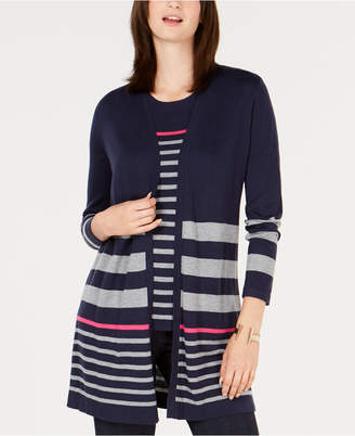 Charter Club Striped Open-Front Cardigan