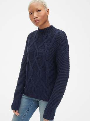 Gap Textured Cable-Knit Mockneck Pullover Sweater