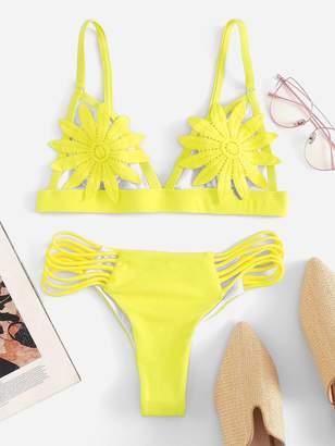 5a374a6e5652d6 Shein Neon Yellow Flower Applique Top With Ladder Cut-out Bikini