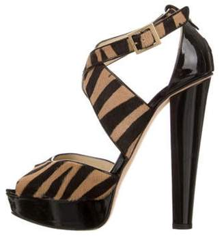 Jimmy Choo Pony Hair Platform Strap Sandals gold Pony Hair Platform Strap Sandals