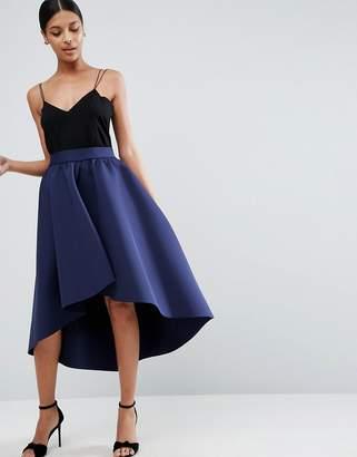 Asos Premium Scuba Prom Skirt With Asymmetric Hem