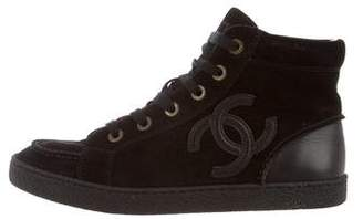 Chanel Suede CC High-Top Sneakers