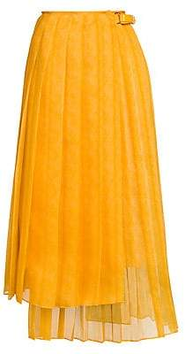 Fendi Women's Feathered Organza Asymmetric Pleated Skirt