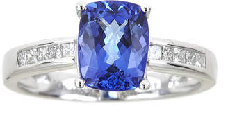 JCPenney FINE JEWELRY LIMITED QUANTITIES Cushion-Cut Genuine Tanzanite and 1/5 CT. T.W. Diamond Ring
