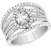 Lord & Taylor Rhodium-plated Sterling Silver and Cubic Zirconia Open Work Teardrop Halo Engagement Ring