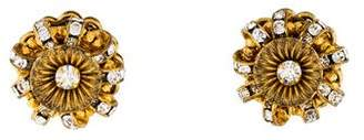 Miriam Haskell Crystal Cluster Clip-On Earrings