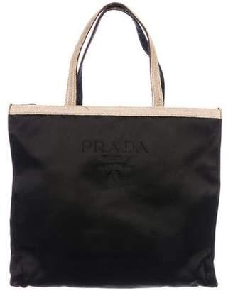 Prada Embroidered Satin Handle Bag