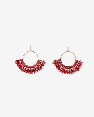 Express Half Wrapped Beaded Circle Earrings