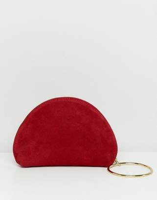Asos DESIGN suede half moon clutch with wristlet ring detail