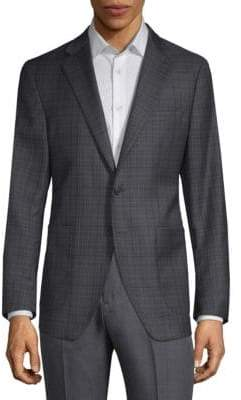 Saks Fifth Avenue Multi-Plaid Print Wool & Silk Suit Jacket