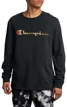 Champion Gold Script Logo Long Sleeve T-Shirt