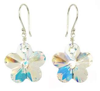 Swarovski Sterling Silver Elements Crystal Aurora Borealis Flower Earrings