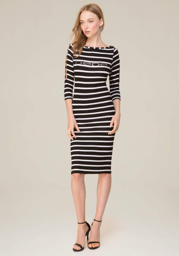 Logo Striped Boatneck Dress