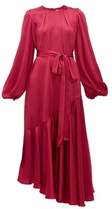 Helena Aje Balloon Sleeve Hammered Silk Dress - Womens - Dark Pink