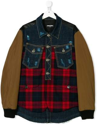 DSQUARED2 TEEN patchwork bomber jacket